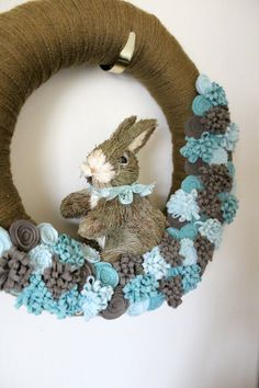 Easter Bunny Wreath | Blue Bunny Wreath Easter Wreath Rabbit Wreath by TheBakersDaughter, $ ...