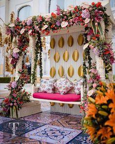 Desi Wedding Decor, Floral Wedding Decorations, Engagement Decorations, Backdrop Decorations, Home Wedding, Mehendi Decor Ideas, Mehndi Decor, Wedding Swing, Wedding Designs