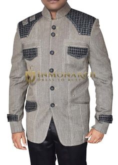 Designer threading front and 3 pocket woollen flaps safari Jacket made from gray color pure linen fabric. Custom Suits, Gray Blazer, Designer Suits For Men, Safari Jacket, Mens Suits, African Fashion, Gray Color, Dads, Menswear