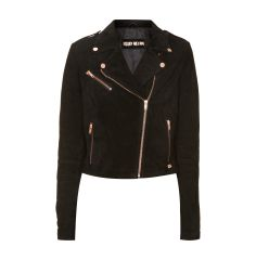 BEYOND Velourslederjacke im Biker-Look in Schwarz | FASHION ID Online Shop