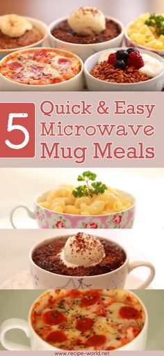 5 Quick And Easy Microwave Mug Meals Cooking delicious meals does not always involve using the stove or oven. These 5 recipes can all be made in the microwave oven! Each recipe only takes less than 10 minutes to make. Easy Microwave Desserts, Healthy Microwave Meals, Easy Microwave Recipes, Microwave Dinners, Microwave Cooking For One, Easy Recipes, Microwave Breakfast, Microwave Baking, Healthy Cooking