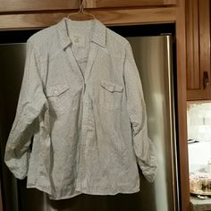 Blouse 100% soft cotton.  Button down, roll up sleeves, barely worn. Sonoma Tops Blouses