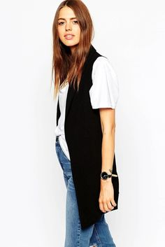 Career-Girl-Daily-Black-Sleeveless-Blazer-Vest-White-Tee-High-Waisted-Jeans-Black-Round-Watch-Effortless-Wavy-Hair-Affordable-Budget-Friendly-Via-ASOS