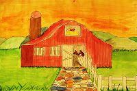 Watercolor rural scene