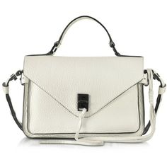 Rebecca Minkoff Handbags Darren Antique White Leather Small Messenger (51975 RSD) ❤ liked on Polyvore featuring bags, messenger bags, handbags, off white, rebecca minkoff bags, lock bag, flap lock bags, leather fringe bag and rebecca minkoff