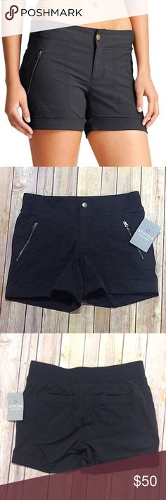 Athleta Trekkie Shortie Cuffed Adventure Shorts Blaze a new trail in this wicking ripstop hiking bottom that has 2-way stretch for ease of movement and a casual style that transcends the trail.   Item Specifics: Brand: Athleta Style#: 537537 Size: US Womens 4 Color: Black Hidden Zipper: Yes New with Tags: Yes Orig Price: $54 Materials: 95% Nylon, 5% Spandex Features: Zip/button front closure, ultra-comfy rib-knit waistband, daypack-friendly, machine washable, 2 front zipper pockets, 2 back…