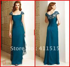 Custom made 2013 Hot Sale Teal Chiffon Beaded Lace Cap Sleeve Floor length Mother of the Bride Dress Dresses