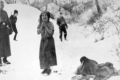 A Woman waits to be executed at Belzec.  What a threat she was to the Reich. . .
