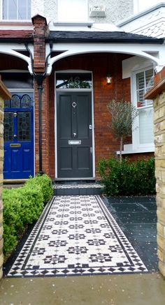 Classic victorian mosaic tile path and porch in cornwall pattern wimbledon York stone london