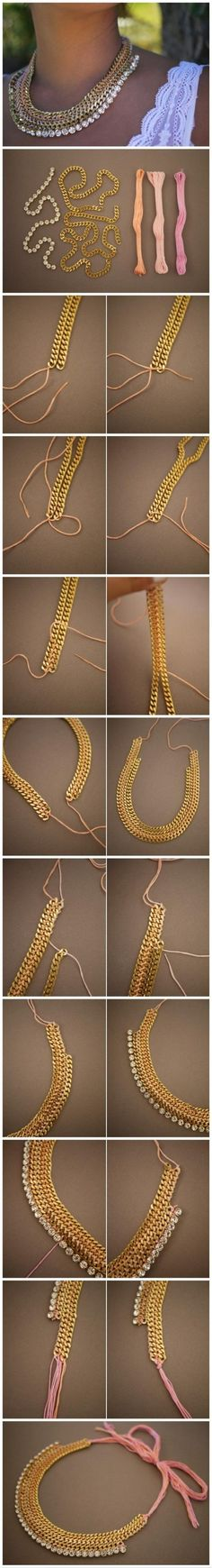fabrication d'un collier avec des chainettes
