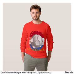 Dutch Soccer Dragon Men's Raglan Sweatshirt - Outdoor Activity Long-Sleeve Sweatshirts By Talented Fashion & Graphic Designers - #sweatshirts #hoodies #mensfashion #apparel #shopping #bargain #sale #outfit #stylish #cool #graphicdesign #trendy #fashion #design #fashiondesign #designer #fashiondesigner #style