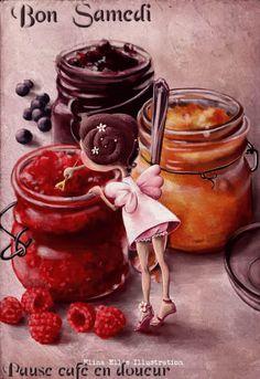 """Jam fairy"" by Elina Ellis Children's Book Illustration, Food Illustrations, Illustration Children, Whimsical Art, Cute Art, Food Art, Fantasy Art, Prints, Pictures"