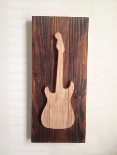 Electric Guitar - Rustic Wood Wall Decor on Reclaimed Wood on Etsy, $75.00