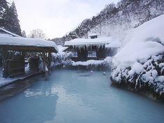 Morning bath at Tsurunoyu Onsen in Nyuto Onsen, Senboku-City, Akita, Japan.