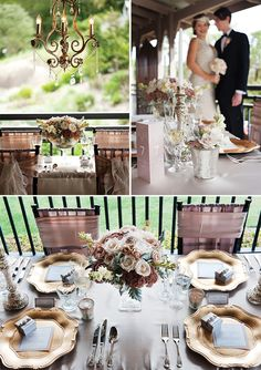 HOLLYWOOD GLAM with a touch of Great Gatsby! Romantic neutrals with soft dusty pinks & champagne, accentuated with metallics–silver, golds & mercury. Sophistication & elegance of Old Hollywood glamour, 1920′s, lace wedding gown. More party & wedding decor at http://pinterest.com/wineinajug/party-wedding-decor/