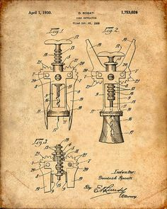 Hey, I found this really awesome Etsy listing at https://www.etsy.com/listing/204050336/patent-print-of-a-cork-screw-patent-art: