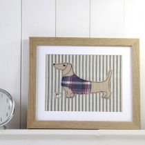 dachshund - small embroidered picture