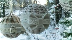 Плетем шар на елку из бумажной лозы - Ярмарка Мастеров - ручная работа, handmade