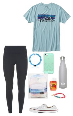 """10 more days of school"" by eadurbala08 ❤ liked on Polyvore featuring Patagonia, NIKE, Casetify, Converse, JanSport and Feather & Stone"