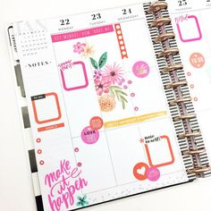 I love orange and pink! To Do Planner, Mini Happy Planner, Planner Tips, Planner Layout, Planner Pages, Planner Stickers, Life Planner, Digital Bullet Journal, Discbound Planner
