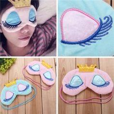 Princess Crown Sleep Eye Mask Eyes Cover Travel Sleeping Eyelash Blindfold Shade Pink Blue