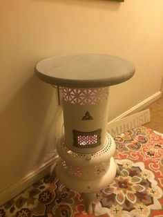 Repurposed antique kerosene heater into a little side table Oil Heater, Stove Heater, Decorating Ideas, Decor Ideas, Craft Ideas, Home Projects, Projects To Try, Kerosene Heater, Winter Hacks