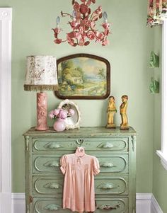 pink and green-dresser