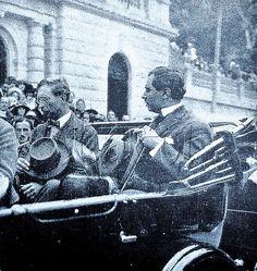 O rei Alberto I e o governador do estado do Rio de Janeiro, Raul Veiga, durante visita à cidade de Petrópolis. Outubro de 1920.