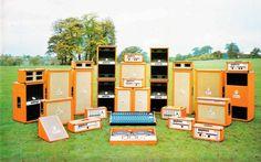 orange amps pile of tone. check the DJ setup with twin record player decks! Orange Amplifiers, Semi Acoustic Guitar, Wall Of Sound, Dj Setup, Recording Studio Design, Guitar Rig, Home Studio Music, Bass Amps, Orange Amps