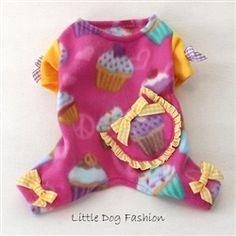 Hot Pink Cupcake Fleece Pajamas for Small Dogs