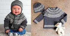 Ett klassiskt mönster till en fin oktröja och mössa, att sticka av ett lent garn av lama-ull. Baby Barn, Baby Knitting Patterns, Children, Kids, Crochet Hats, Pullover, Sweaters, Interior, Crafts