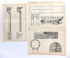 Set of Five Roman Architecture Prints by PeonyandThistlePaper, £24.00