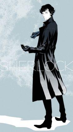 Sherlock anime art. Okay, I haven't seen any Sherlock yet. But I will.