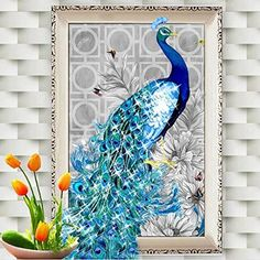 5D DIY Full Drill Diamond Painting Diamant Bank und Blumen Tiere Bunte Rose Bild
