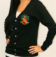 Cardigan with Alpha Gam crest. I WILL be ordering one of these soon!