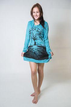 Sure Design Womens Tree Of Life Hoodie Dress Turquoise
