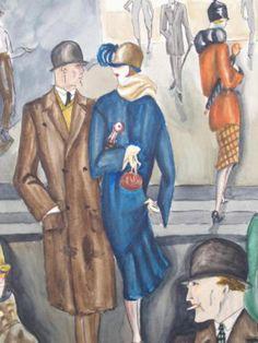Street Scene by Dodo Burgner (Dörte Clara Wolff) - (1907-1998), German (coololdthings)