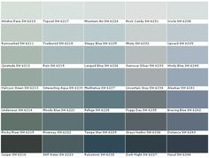Sherwin Williams SW6210 Window Pane SW6211 Rainwashed SW6212 Quietude SW6213 Halcyon SW6214 Underseas SW6215 Rocky River SW6216 Jasper SW6217 Topsail SW6218 Tradewind SW6219 Rainwashed SW6220 Interesting Aqua SW6221 Moody Blue SW6222 Riverway SW6223 Still Water SW6224 Mountain Air SW6225 Sleepy Blue SW6226 Languid Blue SW6227 Meditative