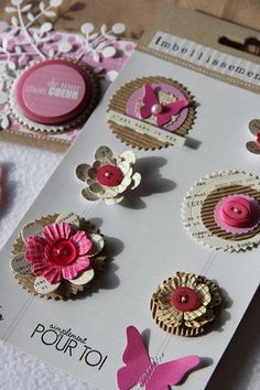 Embellishments using die cuts. Not in English, but really easy to see what to do. Perfect for all those little bits  of scrap paper.