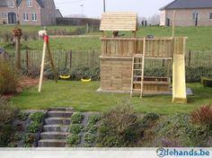 Houten speeltoestel speelhuis speeltoren schommel glijbaan - Te koop