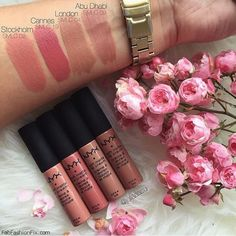 NYX Soft Matte Lip Cream swatches I have London, Stockholm, and Abu Dhabi coming in the mail. Nyx Lipstick, Lipgloss, Lipsticks, Eyeshadow Dupes, Dupes Nyx, Nyx Lip Liner, Nars Cosmetics, Nyx Soft Matte Lip Cream, Matte Lips