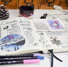 Keeping a bullet journal is a great way to keep on top of your 2018 goals! Who agrees? Beautiful spread by Bullet Journal Entries, Bullet Journals, Brush Pen Art, My Journal, Journal Ideas, First Snow, Journal Stickers, Pottery, Artwork