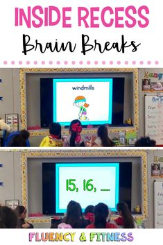 Find new brain breaks and other inside recess ideas to help your students get their energy out.  #brainbreaks #insiderecess #fluencyandfitness