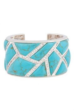 Kara Ross Wide Maze Cuff (Sterling Silver with Turquoise and White Sapphire Pave) Gorgeous! Turquoise Cuff, Turquoise Jewelry, Turquoise Bracelet, Gold Jewelry, Something Blue Bridal, Coral Design, Wedding Earrings, Tiffany Blue, White Sapphire