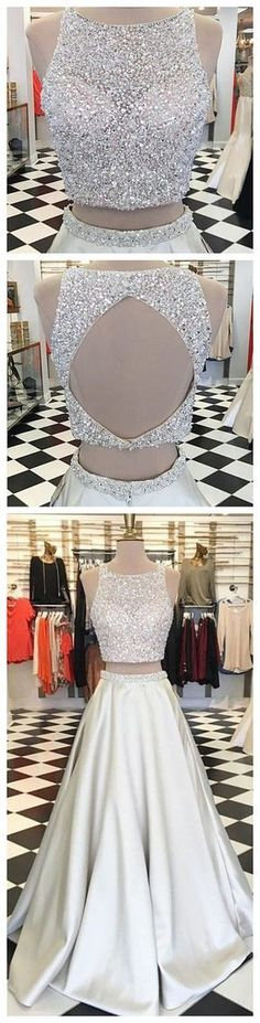 Grey open back prom dresses ,glitter halter top, bare midriff, flowing solid silk skirt. · OKProm · Online Store Powered by Storenvy Ivory Prom Dresses, Open Back Prom Dresses, Formal Dresses For Teens, Beaded Prom Dress, Backless Prom Dresses, Trendy Dresses, Dance Dresses, Homecoming Dresses, Homecoming