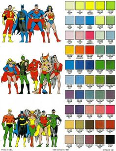 Late Night Fun - 1982 DC Color Guide - Pantone colors for dc heroes :)