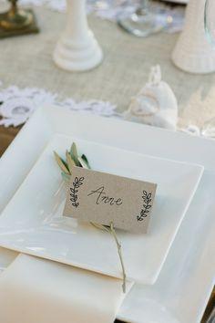 rustic place setting, photo by John Newsome http://ruffledblog.com/romantic-la-jolla-beach-wedding #placecards #wedding