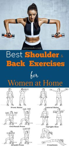 12 Shoulder Workouts for Women: Back and Shoulder Exercises at Home. The best shoulder exercises to get ready for the halter top and sleeveless tops bikini in the summer! This shoulder workout has the best delt exercises. Shoulder Workout Women, Shoulder Workout At Home, Back Workout Women, At Home Workouts For Women, Shoulder Exercises, Best Back Workouts, Full Back Workout, Back Workout At Home, Autogenic Training