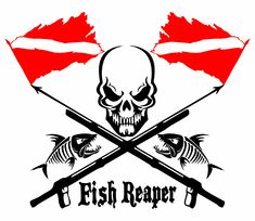 Fish Reaper Skull Diver Down Flag Speargun Car Boat Truck Vinyl Decal Sticker Bass Fishing Shirts, Funny Fishing Shirts, Dive Flag, Diver Down, Shark Logo, Snorkeling, Vinyl Decals, Custom Decals, Scuba Diving