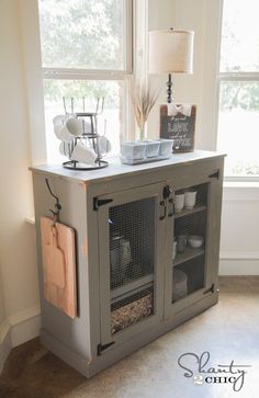 DIY Farmhouse Coffee Cabinet
